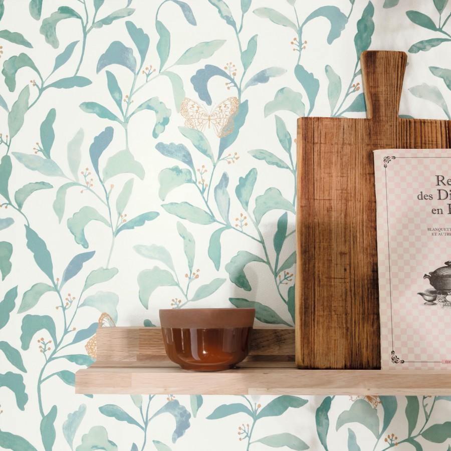 Papel pintado hojas y mariposas Monet Country 126761