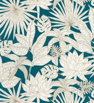 Papel pintado hojas dibujadas azul Sri Lanka 127024