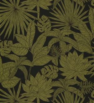 Papel pintado hojas dibujadas verde Sri Lanka 127025
