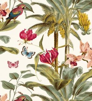 Papel pintado tropical vegetación y mariposas Tropical Summer 127203