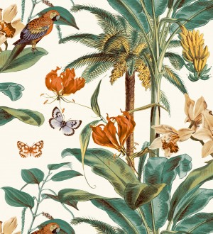 Papel pintado tropical vegetación y mariposas Tropical Summer 127204