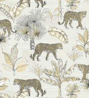 Papel pintado leopardos africanos fondo marfil claro Wild Life 127205