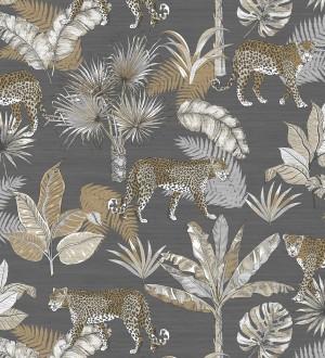 Papel pintado leopardos africanos fondo gris oscuro Wild Life 127207