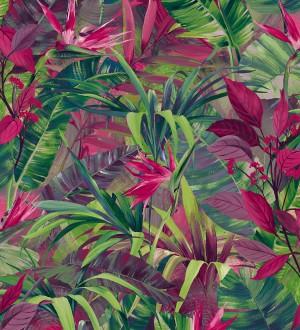 Papel pintado hojas tropicales verdes y fucsia Panamá 127212