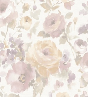 Papel pintado flores grandes estilo romántico tonos rosas y beige Country Rose 127404