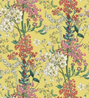 Papel pintado florecillas silvestres en rama fondo amarillo Kaila Flowers 127517