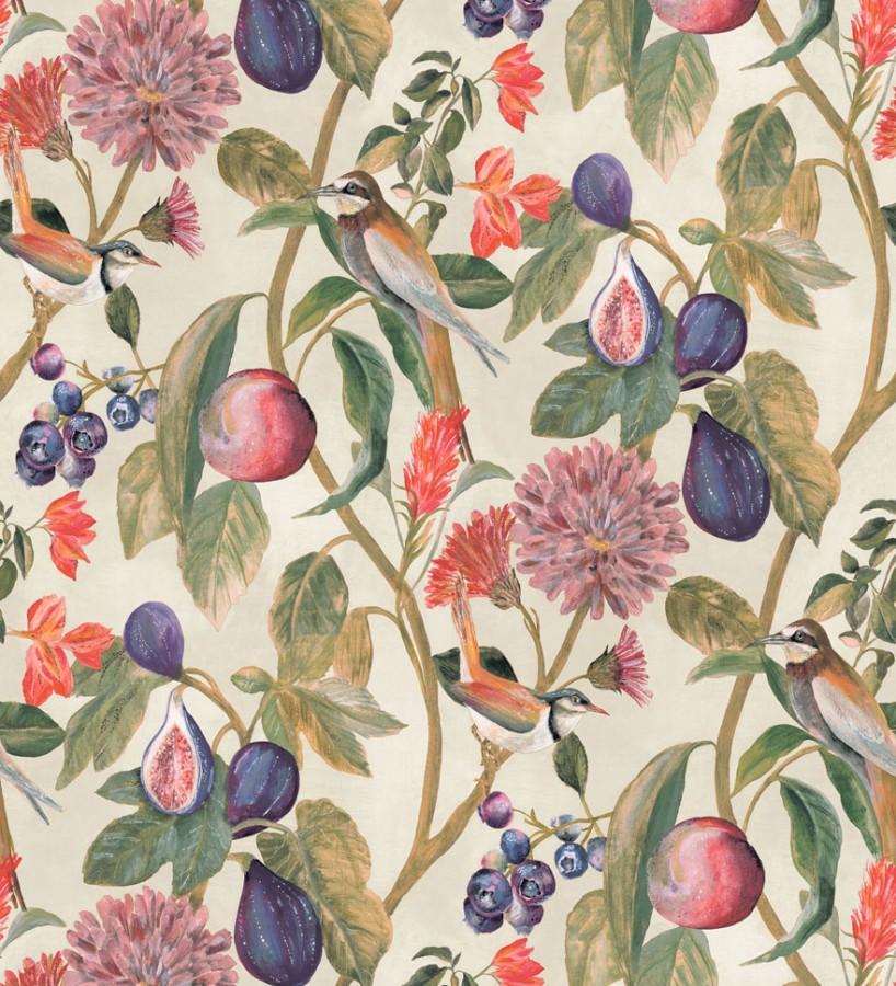 Papel pintado naturaleza, pájaros y frutas fondo claro Sandy Bloom 127525