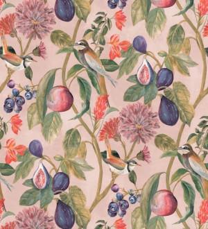 Papel pintado naturaleza, pájaros y frutas fondo rosa claro Sandy Bloom 127527
