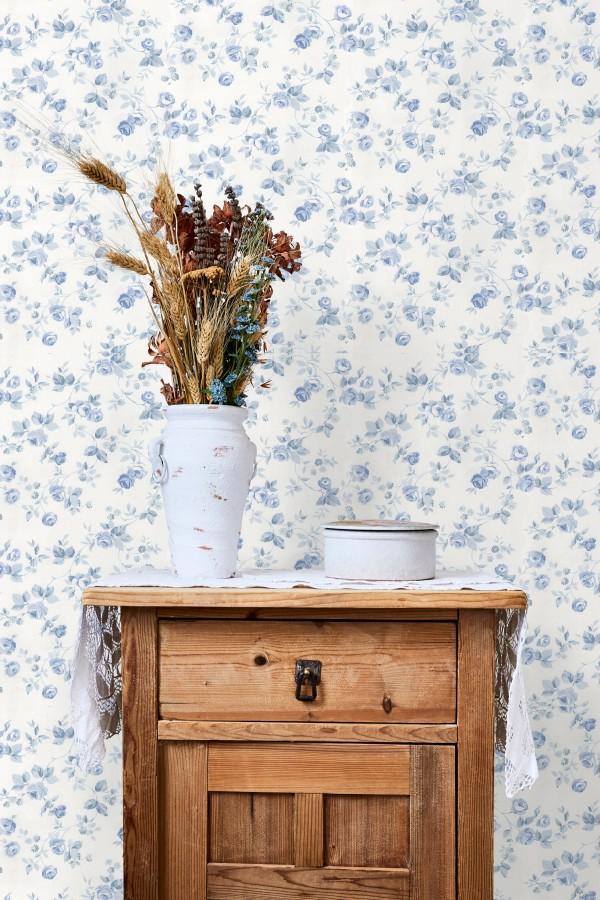 Papel pintado flores románticas estilo vintage Rosewood 127548