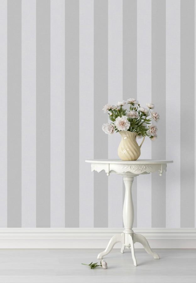 Papel pintado rayas blancas y grises Raya Zeus 127569