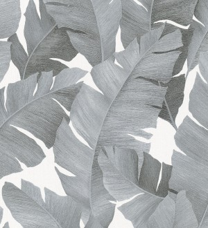 Papel pintado hojas grandes estilo tropical gris Florida Palms 127658
