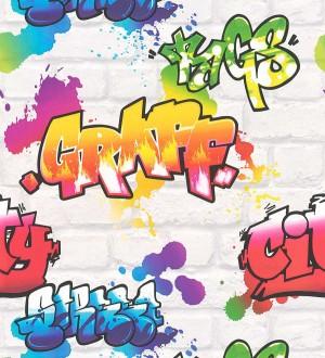 Papel pintado muro con graffiti estilo urbano blanco Urban Graffiti 127678