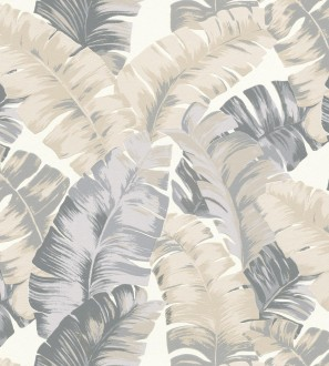 Papel pintado hojas grandes estilo tropical beige Sunset Palms 127695