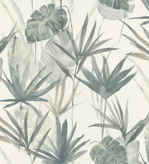 Papel pintado hojas estilo tropical tonos verdes Eleanor 127699