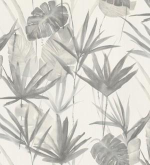 Papel pintado hojas estilo tropical tonos grises Eleanor 127700
