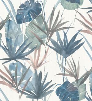 Papel pintado hojas estilo tropical tonos azules Eleanor 127701