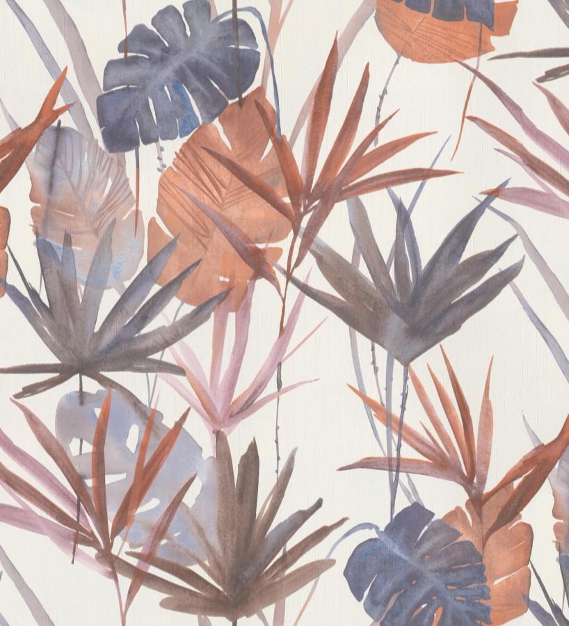 Papel pintado estilo tropical tonos anaranjados Eleanor 127702