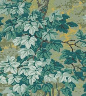 Papel pintado hojas campestres tonos verdes Evelyn Forest 127809