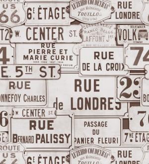 Papel pintado placas de calles de Londres y París vintage London Calling 127848