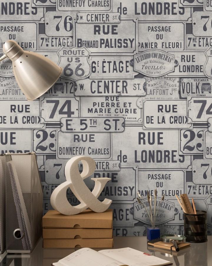 Papel pintado placas de calles de Londres y París vintage London Calling 127849