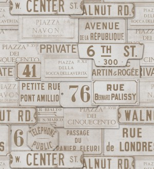 Papel pintado placas de calles de Londres y París vintage London Calling 127850