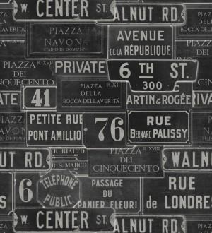 Papel pintado placas de calles de Londres y París vintage London Calling 127851