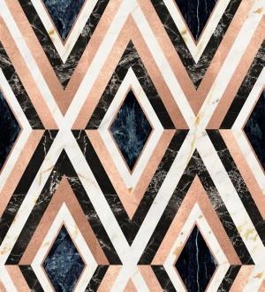 Papel pintado geométrico rombos sobre mármol art decó Rihanna Diamond 128055