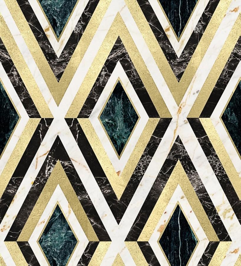 Papel pintado geométrico rombos sobre mármol art decó Rihanna Diamond 128056