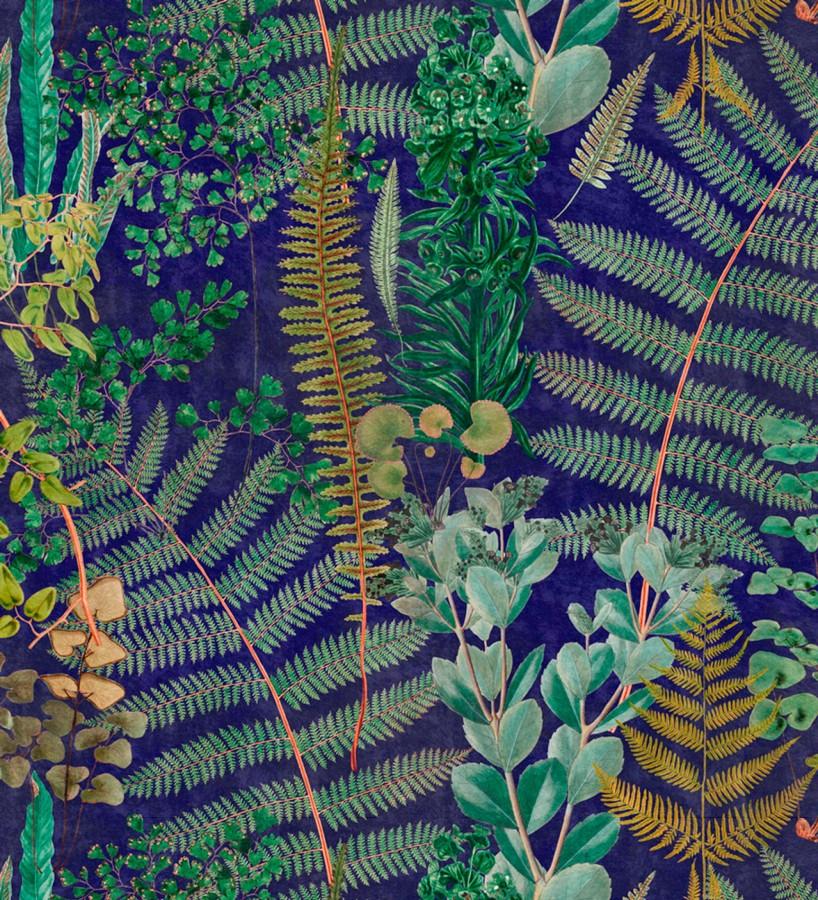 Papel pintado hojas de helecho fondo azul Feriga Forest 128082