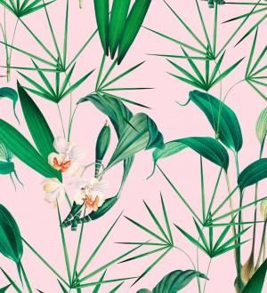 Papel pintado flores blancas y hojas con fondo rosa pálido Palms Hunting 128125