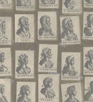 Papel pintado sellos de emperadores romanos tonos beige Emperor Legacy 128179
