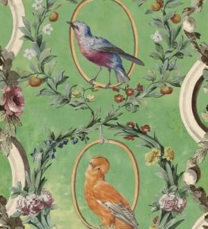 Papel pintado pájaros y flores estilo romántico fondo verde Mina Garden 128187