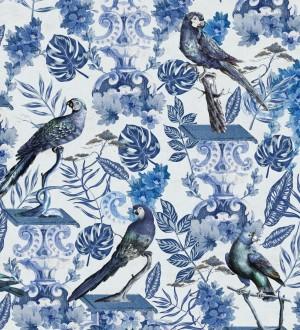 Papel pintado loros y hojas de selva tropical azules Jade Parrots 128189