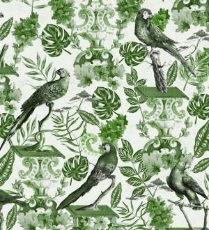Papel pintado loros y hojas de selva tropical verdes Jade Parrots 128191