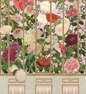 Papel pintado jardín de camelias visto a través de una reja Hana Window 128223