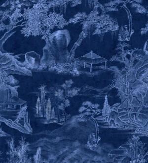 Papel pintado paisaje campestre dibujado tonos azules Country Picture 128250