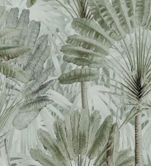 Papel pintado hojas tropicales verde claro Tropical Fan 128268